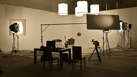 A camera in a film studio