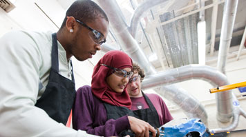 Students of LSBU's School of The Built Environment and Architecture in a laboratory