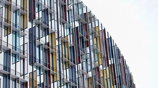Coloured glass windows on a London building