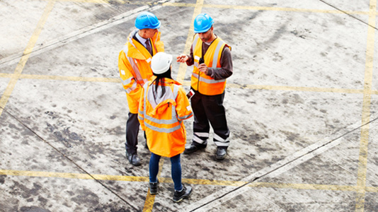 A meeting on a building site