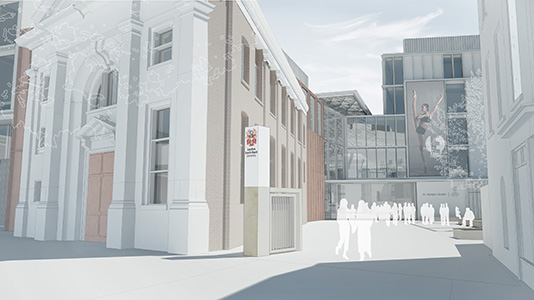 London South Bank University (LSBU) St George's Quarter development chapel and rotary yard