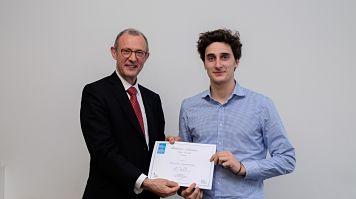 Arthur Escoffier, LSBU student, winning a prize