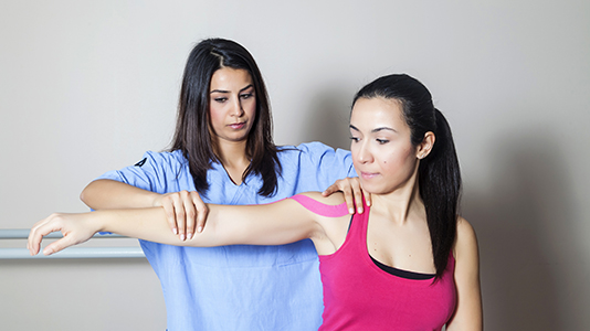 Physiotherapy treatment on arm
