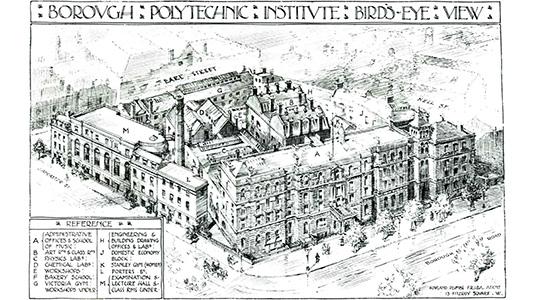 Borough Polytechnic birds eye view circa 1910