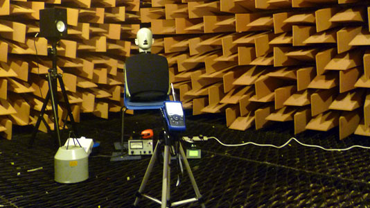 acoustic testing in LSBU's anechoic chamber