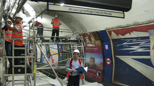 engineers testing sound travel on London Underground