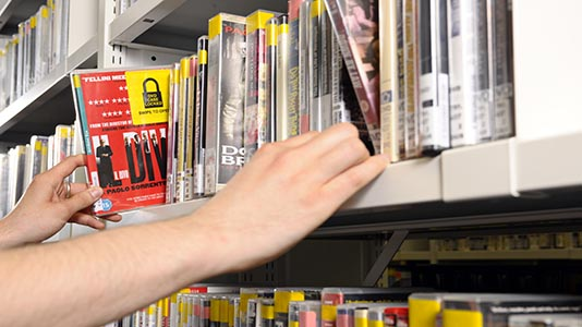 DVD section of Perry Library