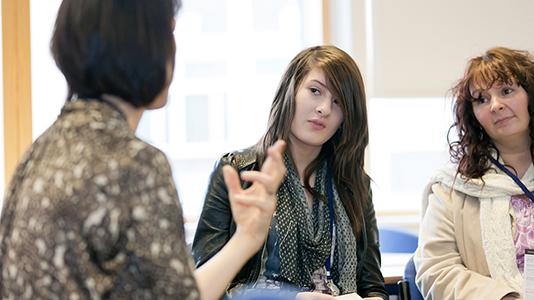 Prospective student talking to an advisor