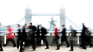 People walking through London
