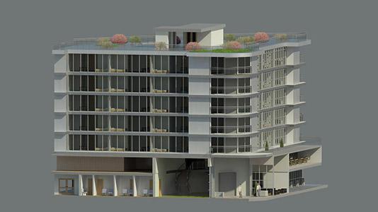Student design of an apartment block