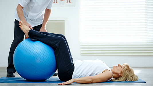 Physiotherapy treatment using ball