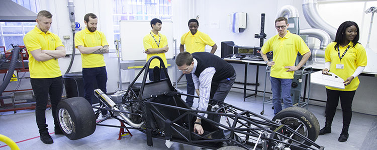 The Formula Student team working on their project