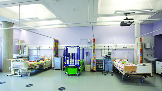 The nursing skills labs, simulating a hospital environment