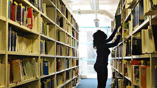 Perry Library bookshelves