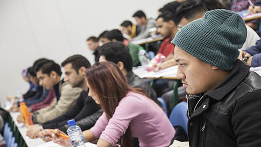 Student in a business lecture