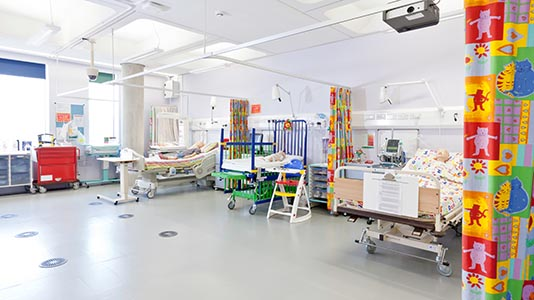 A fully equipped hospital ward for children's nursing