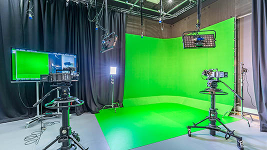 Greenscreen in Film Studio at Elephant Studios at LSBU