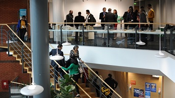 Guests network at LSBU event on Keyworth Centre Mezzanine