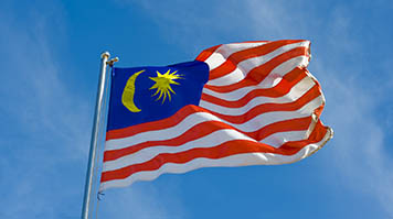 The Malaysian flag against the sky