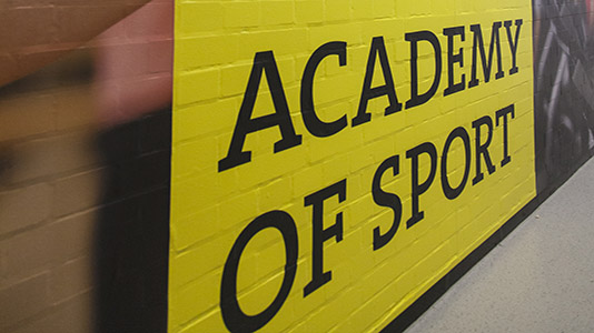 A painted sign at the Academy of Sport