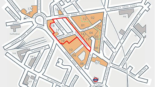 London South Bank University (LSBU) St George's Quarter development map outline
