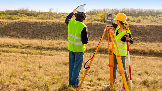 Surveyors working in a field