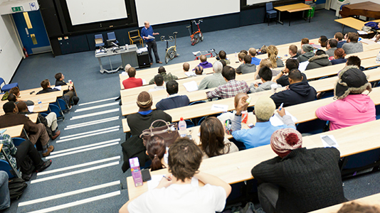 Students in lecture theatre at an Experience Day