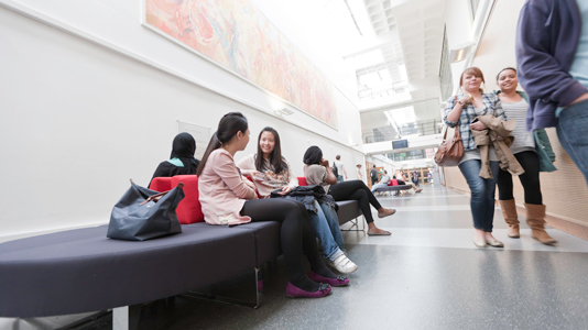 Students in London Road lobby
