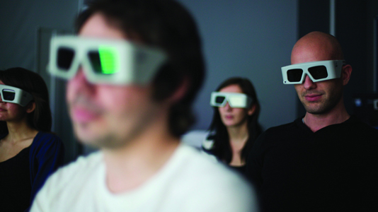 Students wearing 3d glasses