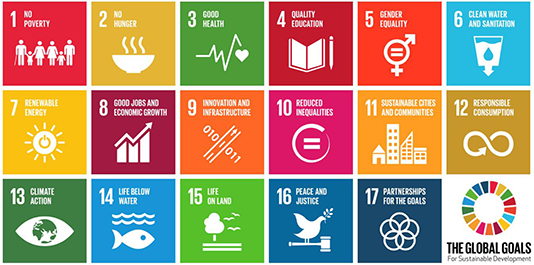 An infographic of the Sustainable Development Goals motivating the Global Challenges Institute