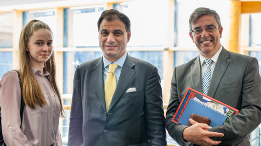 Lord Bilimoria and LSBU's Professor Paul Ivey met Year 12 student Ciara Moor from South Bank UTC
