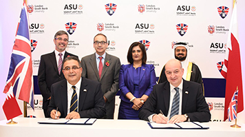 Representatives from Applied Sciences University, Bahrain, and LSBU