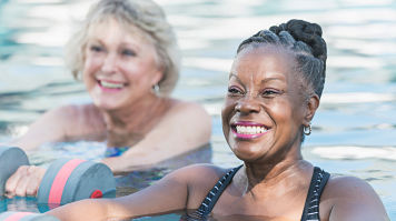 Two elderly women in a swimming pool