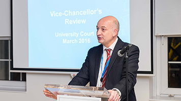 David Phoenix speaking at University Court