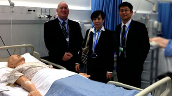 John Barclay, Course Director LSBU, Sophia Lee, Head of Nursing I-Systems & Adrian Hon, Principal I-Systems at the LSBU skills labs.