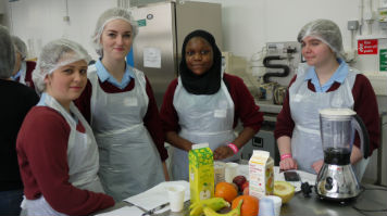Pupils making smoothies