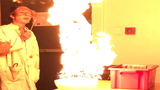Dr Jasmine Pradissitto shows how a chemical reaction can create fire