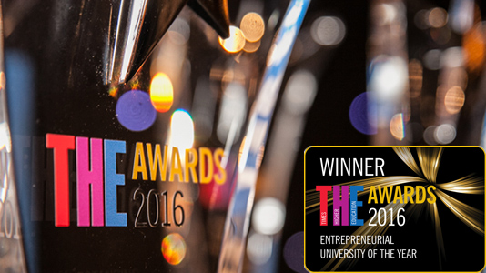 Times Higher Education Awards 2016 trophy and logo for Entrepreneurial University of the Year