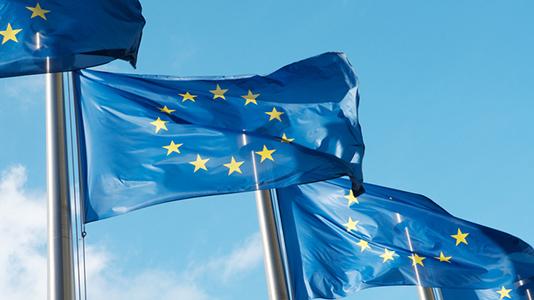 EU flags against the sky