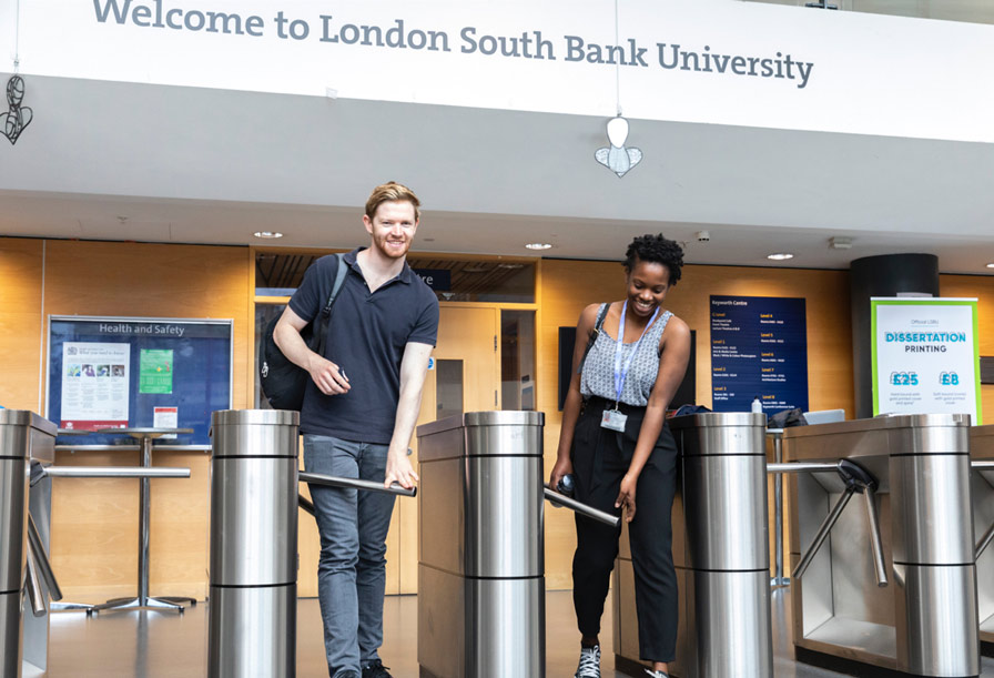 Students walking out of LSBU