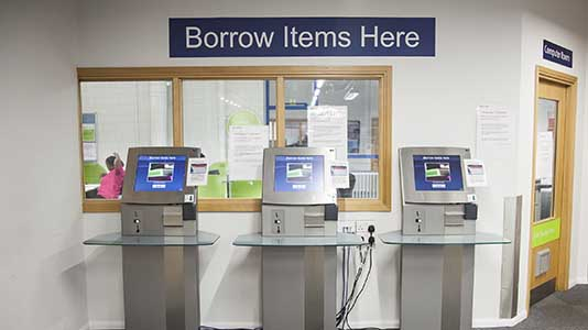 Borrowing terminals in Perry Library