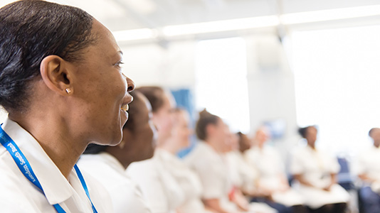 A group of student nurses in discussion