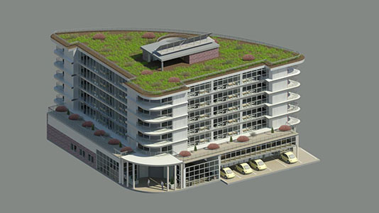 3D view of apartment block design