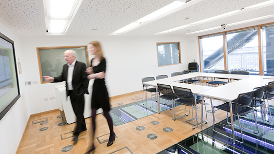 Students work in the CEREB meeting room