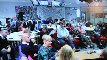 BJTC conference delegates in Elephant Studios newsroom
