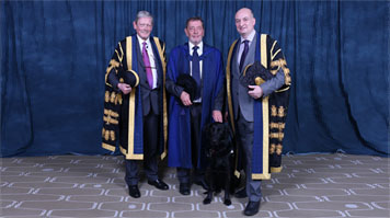 Lord David Blunkett receiving his Honorary Doctorate with David Phoenix (right hand side) Vice Chancellor of LSBU and (left hand side) Douglas Denham St Pinnock, Pro Chancellor of LSBU