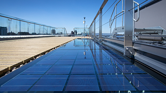 Solar energy panels on the roof of LSBU's CEREB