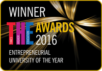 Logo for Times Higher Education Awards Entrepreneurial University of the Year 2016