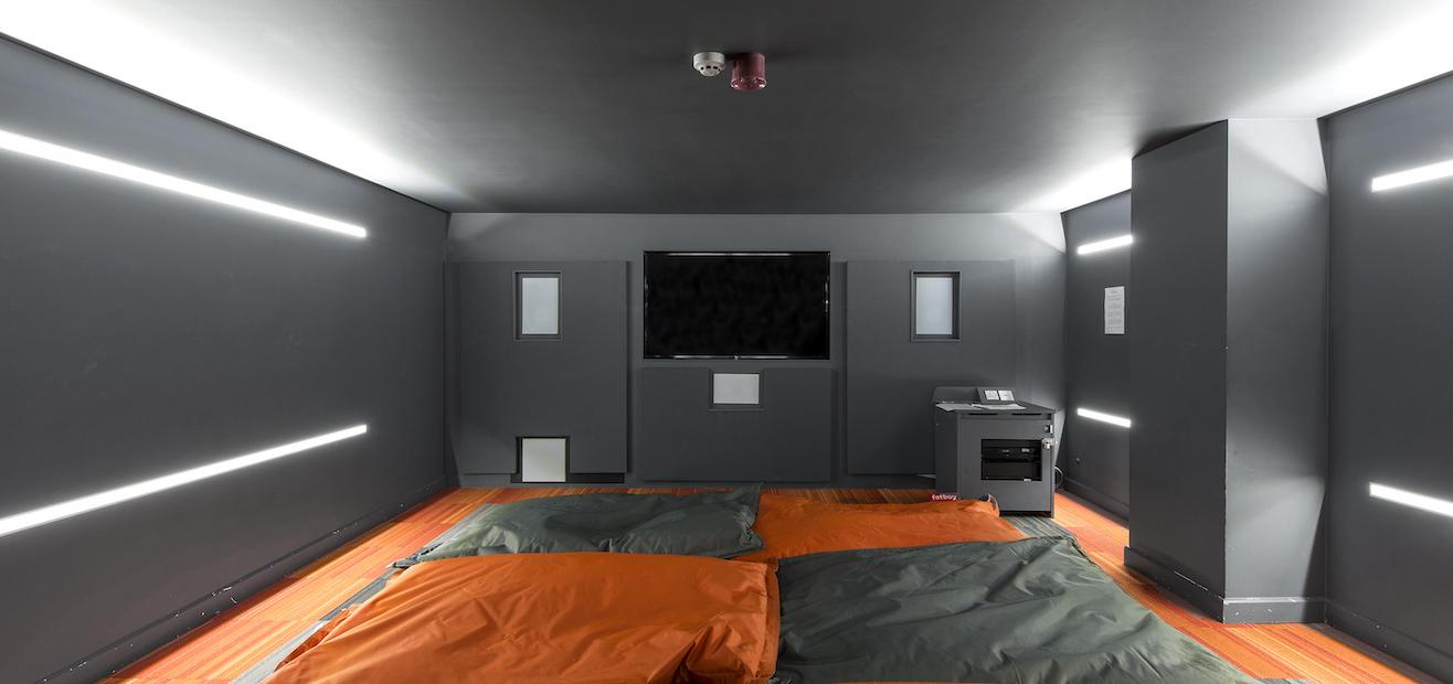 dark grey futuristic cinema room