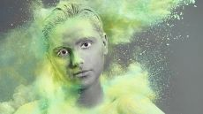 Photography student Will Ainsworth's work: portrait girl covered in coloured powder
